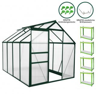 Gewächshaus 1.9m x 2.5m mit Regale ohne Sockel Aluminium Alu Gartenhaus 195cm x 190cm x 250cm Treibhaus Hybrid Glashaus PC-Platten und 2 Regalen