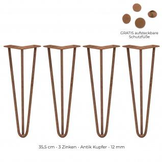 SKISKI Legs 4 x 35, 5cm 3 Streben Hairpin Haarnadelbeine Haar-Nadel-Beine Haarnadel-Beine Tischbeine Stuhlbeine Möbelbeine Haarnadel-Tischbeine