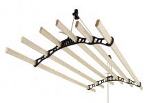 MonsterShop 1.2 m Platzsparender 6 Kieferlatten Deckentrockner aus Holz Kleidertrockner Wäschetrockner Trockner Deckenwäschetrockner im Viktoranischer Stil -Schwarz