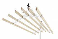 MonsterShop 1.4m Platzsparender 6 Kieferlatten Deckentrockner aus Holz Kleidetrockner Wäschetrockner Trockner Deckenwäschetrockner im Viktoranischer Stil -Weiß