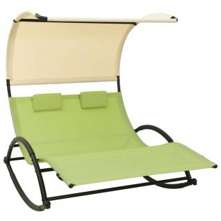vidaXL Doppel-Sonnenliege mit Sonnendach Textilene Grün und Creme