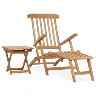 vidaXL Garten-Liegestuhl mit Fußstütze und Tisch Massivholz Teak