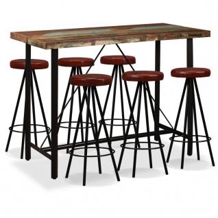 vidaXL Bar-Set 7-tlg. Altholz Massiv und Echtleder