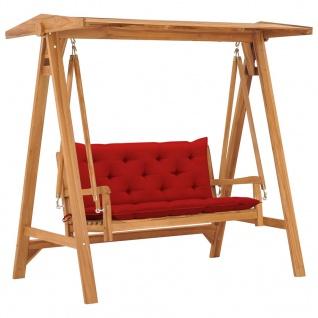vidaXL Hollywoodschaukel mit Roter Auflage 170 cm Massivholz Teak