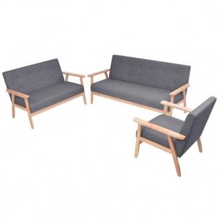 vidaXL Sofa-Set 3-tlg. Stoff Dunkelgrau