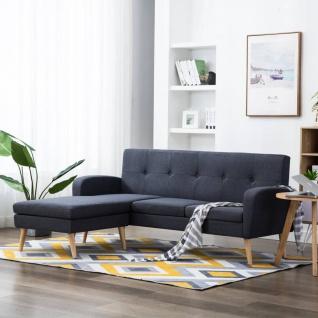 vidaXL Sofa in L-Form Stoffbezug 186 x 136 x 79 cm Dunkelgrau