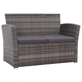 vidaXL 4-tlg. Garten-Lounge-Set mit Auflagen Poly Rattan Grau - Vorschau 2