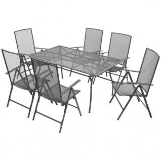 vidaXL Garten-Essgruppe Verstellbar 7-tlg. Stahlgewebe
