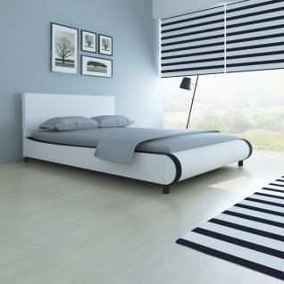 vidaXL Bett mit Matratze Kunstleder 140 x 200 cm Weiß