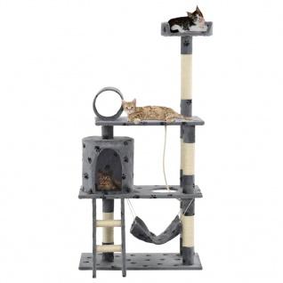 vidaXL Katzenbaum mit Sisal-Kratzsäulen 140 cm Grau Pfoten-Aufdruck