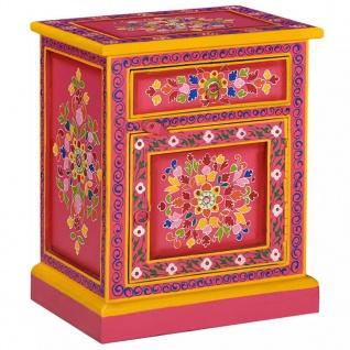 vidaXL Nachttisch Mangoholz Massiv Rosa Handbemalt