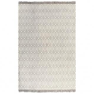 vidaXL Kelim-Teppich Baumwolle 120x180 cm mit Muster Taupe