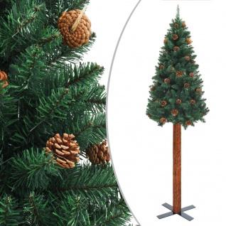 vidaXL Schlanker Weihnachtsbaum mit Echtholz und Zapfen Grün 180cm PVC