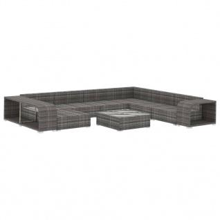 vidaXL 10-tlg. Garten-Lounge-Set mit Auflagen Poly Rattan Grau - Vorschau 3
