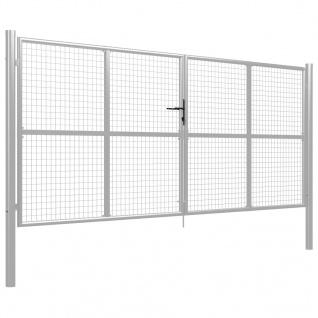 vidaXL Gartentor Verzinkter Stahl 415 x 200 cm Silbern