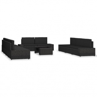 vidaXL 10-tlg. Garten-Lounge-Set Poly Rattan Schwarz