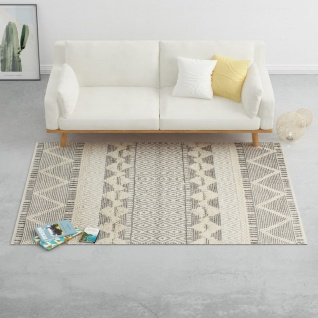vidaXL Teppich Handgewebt Wolle 160×230 cm Weiß/Grau/Schwarz/Braun