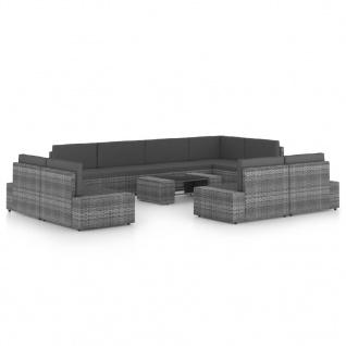 vidaXL 10-tlg. Garten-Lounge-Set mit Kissen Grau Poly Rattan