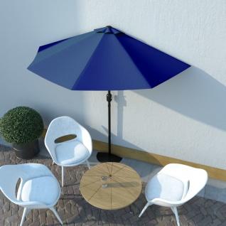 vidaXL Balkon-Sonnenschirm Alu-Mast Blau 270x135x245cm Halbrund