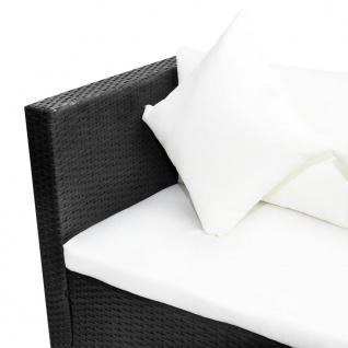 vidaXL 4-tlg. Garten-Lounge-Set mit Auflagen Poly Rattan Schwarz - Vorschau 5