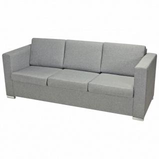vidaXL 3-Sitzer Sofa Stoff Hellgrau - Vorschau 3