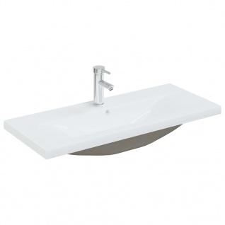 vidaXL Einbauwaschbecken mit Wasserhahn 91x39x18 cm Keramik Weiß