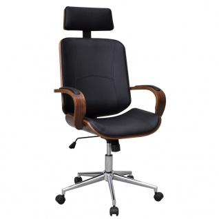 Büro-Drehstuhl mit Kopfstütze Bugholz mit Kunstleder-Bezug