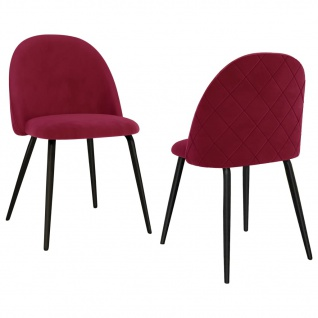 vidaXL Esszimmerstühle 2 Stk. Weinrot Stoff