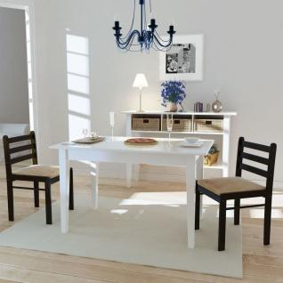 vidaXL Esszimmerstühle 2 Stk. Braun Gummibaum Massivholz und Samt
