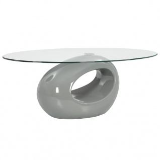 vidaXL Couchtisch mit Ovaler Glas-Tischplatte Hochglanz-Grau