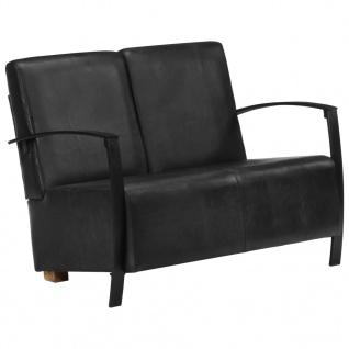 vidaXL 2-Sitzer-Sofa Schwarz Echtleder