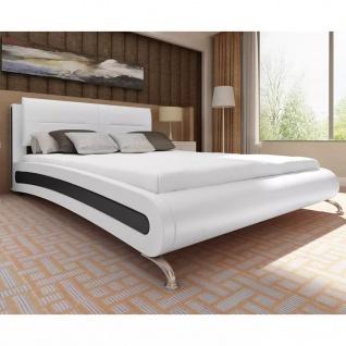 vidaXL Bett mit Matratze Schwarz & Weiß Kunstleder 140×200 cm
