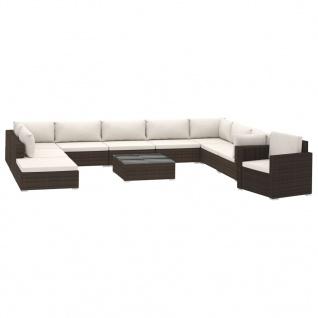 vidaXL 11-tlg. Garten-Lounge-Set mit Auflagen Poly Rattan Braun - Vorschau 2