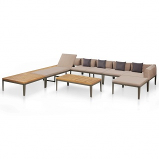 vidaXL 6-tlg. Garten-Lounge-Set mit Auflagen Massivholz Akazie Braun