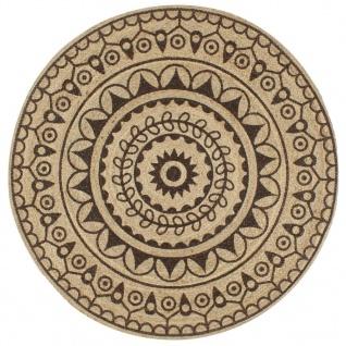 vidaXL Teppich Handgefertigt Jute mit Dunkelbraunem Aufdruck 150 cm