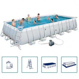 Bestway Power Steel Stahlrahmen Schwimmbadset rechteckig 732x366x132cm