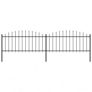 vidaXL Gartenzaun mit Speerspitzen (0, 5 - 0, 75) x 3, 4 m Stahl Schwarz