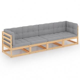 vidaXL 4-Sitzer-Gartensofa mit Kissen Kiefer Massivholz