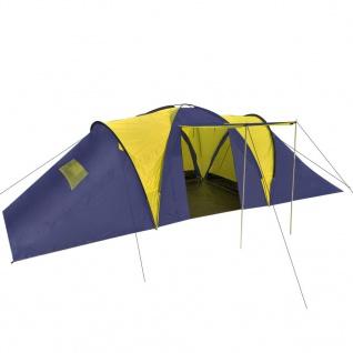 vidaXL Campingzelt 9 Personen Stoff Blau/Gelb