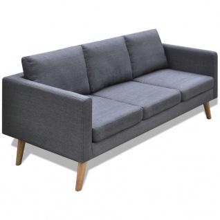 vidaXL Sofa 3-Sitzer Stoff Dunkelgrau