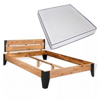 vidaXL Bett mit Memory-Matratze Akazienholz Massiv Stahl 180x200cm