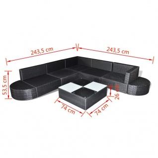 vidaXL 8-tlg. Garten-Lounge-Set mit Auflagen Poly Rattan Schwarz - Vorschau 5