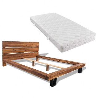 vidaXL Bett mit Matratze Akazienholz Massiv 180 x 200 cm