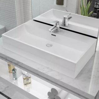 vidaXL Waschbecken mit Hahnloch Keramik Weiß 76 x 42, 5 x 14, 5 cm