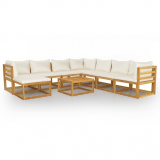 vidaXL 9-tlg. Garten-Lounge-Set mit Auflagen Creme Massivholz Akazie