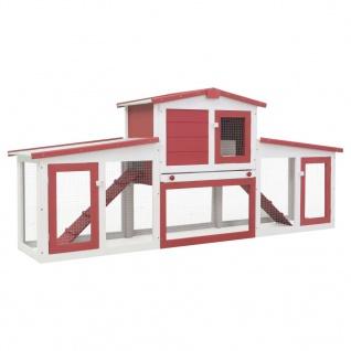 vidaXL Großer Kaninchenstall Rot und Weiß 204 x 45 x 85 cm Holz