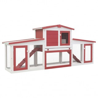 vidaXL Großer Kaninchenstall Rot und Weiß 204x45x85 cm Holz