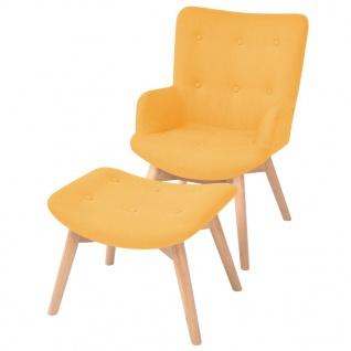 vidaXL Sessel mit Fußhocker Stoff Gelb
