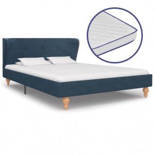 vidaXL Bett mit Memory-Schaum-Matratze Blau Stoff 120×200 cm