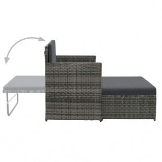 vidaXL 2-tlg. Garten-Lounge-Set mit Auflagen Poly Rattan Grau - Vorschau 4
